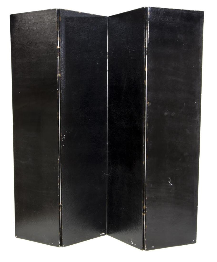 DECORATIVE BLACK CRAQUELURE FOUR-PANEL SCREEN - 3