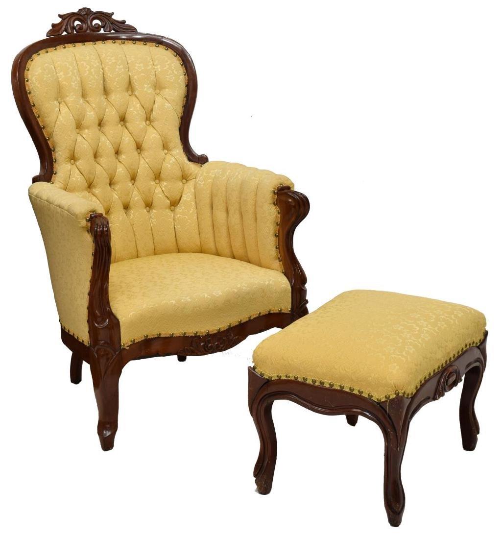 (2) VICTORIAN ARM CHAIR & FOOT STOOL