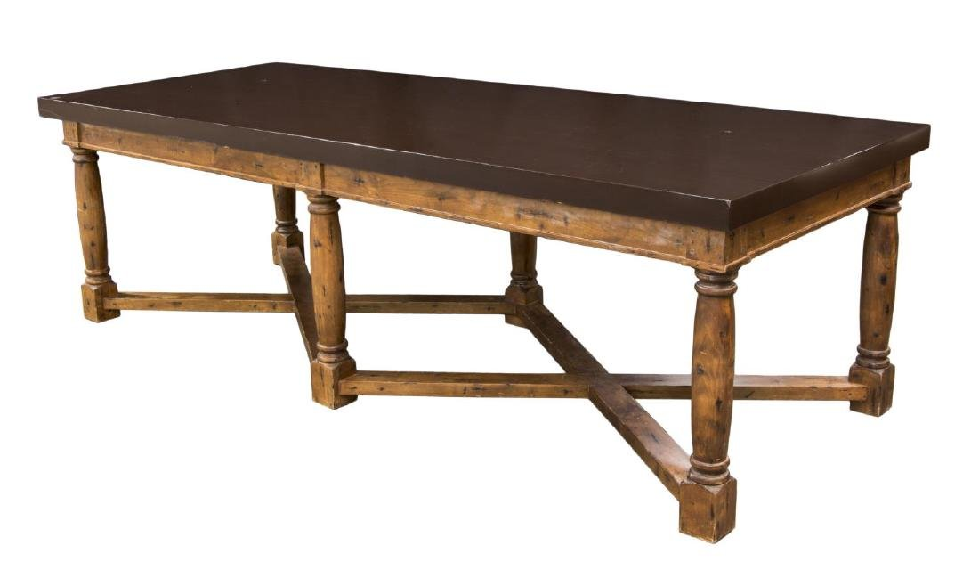 "LARGE KITCHEN ISLAND OR WORK TABLE, 120""L"