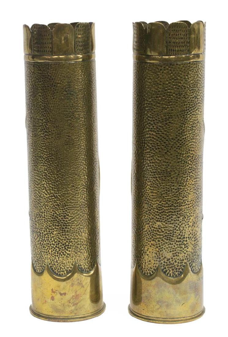 (2) WWI HAMMERED FLORAL DESIGN SHELL ART VASES - 2