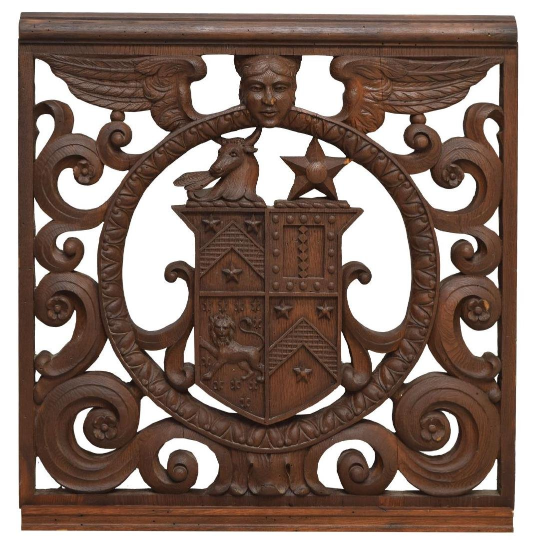 CARVED WOOD COAT OF ARMS ARCHITECTURAL ELEMENT