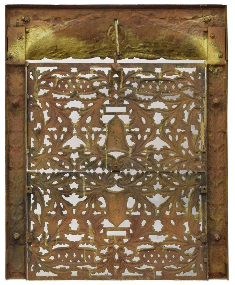 ANTIQUE GILDED IRON ARCHITECTURAL FIREPLACE PANEL - 2