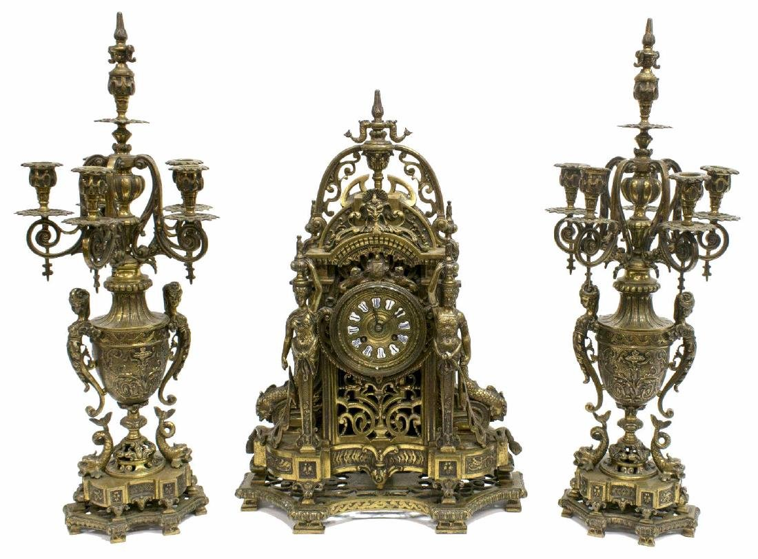 (3) RENAISSANCE REVIVAL BRONZE CLOCK & GARNITURES
