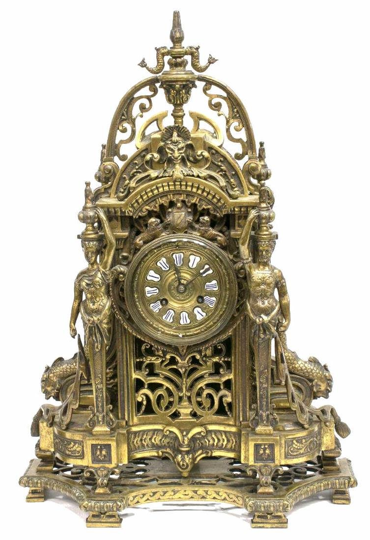 (3) RENAISSANCE REVIVAL BRONZE CLOCK & GARNITURES - 2