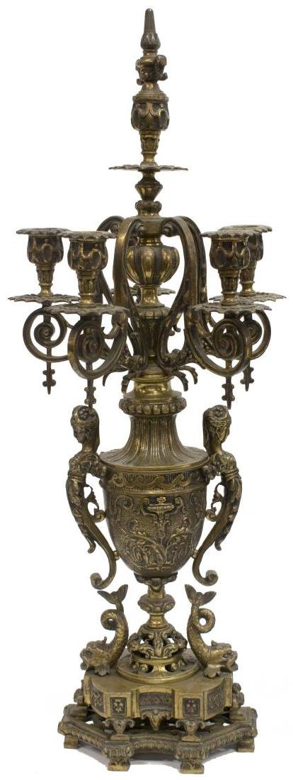 (3) RENAISSANCE REVIVAL BRONZE CLOCK & GARNITURES - 3
