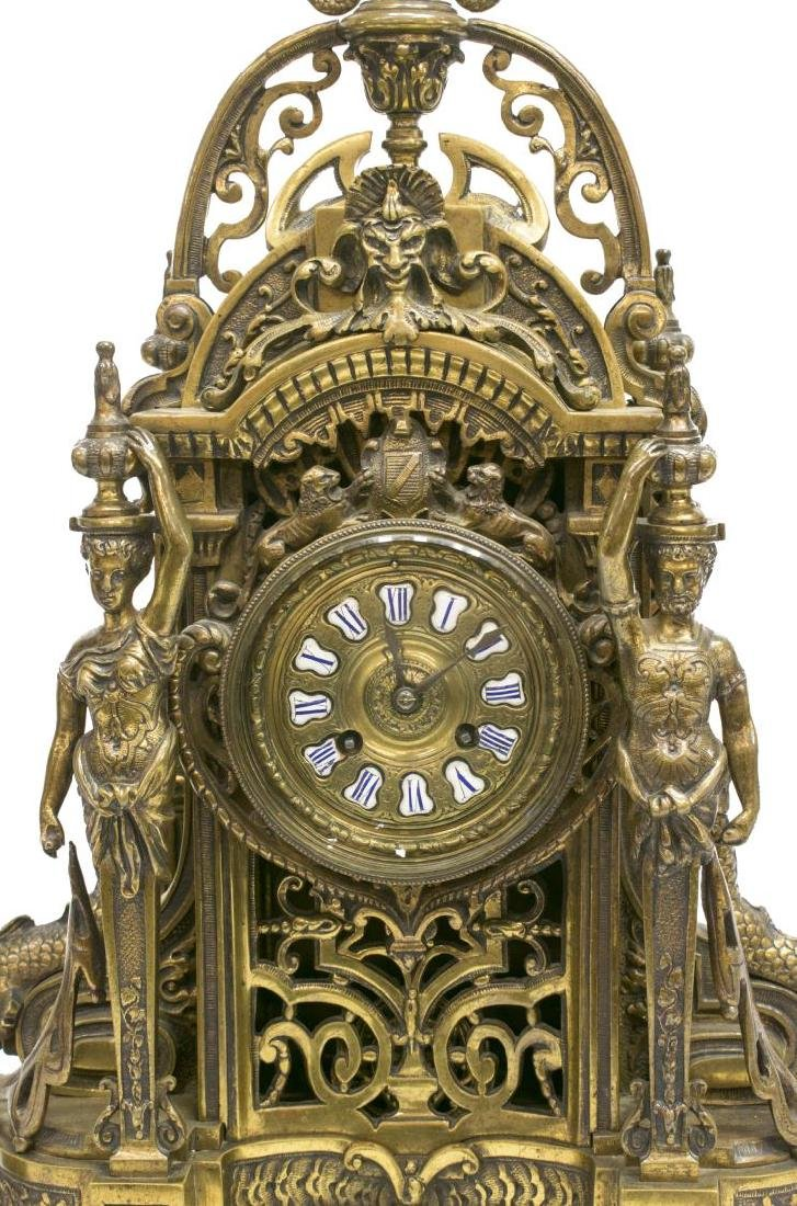 (3) RENAISSANCE REVIVAL BRONZE CLOCK & GARNITURES - 5