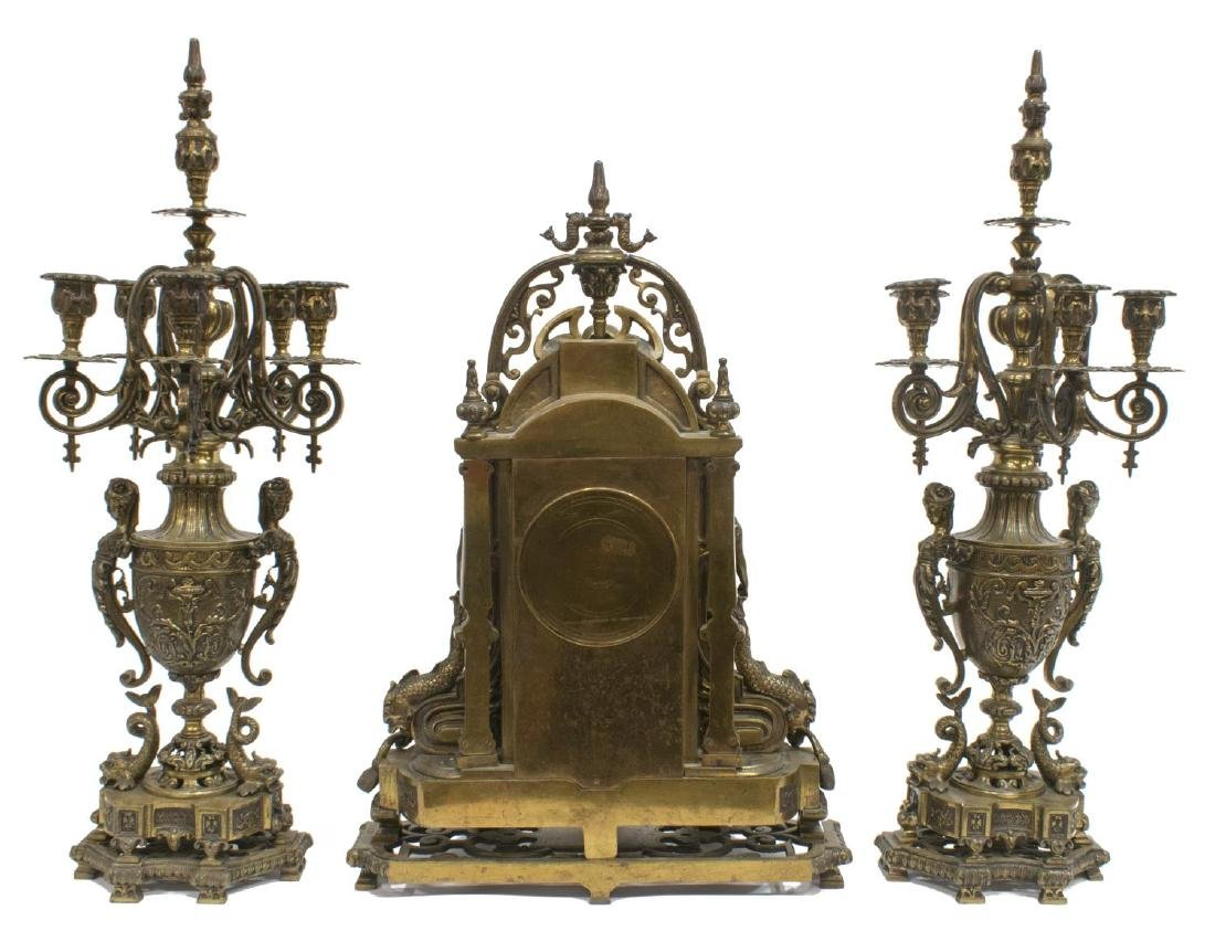 (3) RENAISSANCE REVIVAL BRONZE CLOCK & GARNITURES - 6
