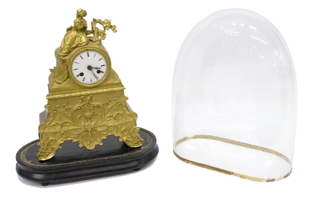 JAPY FRERES LOUIS XV STYLE GILT CLOCK, GLASS DOME