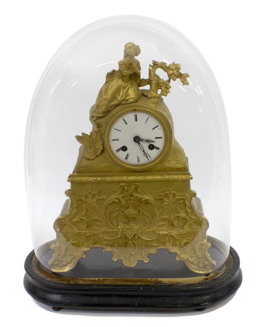 JAPY FRERES LOUIS XV STYLE GILT CLOCK, GLASS DOME - 2