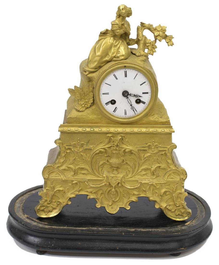 JAPY FRERES LOUIS XV STYLE GILT CLOCK, GLASS DOME - 3