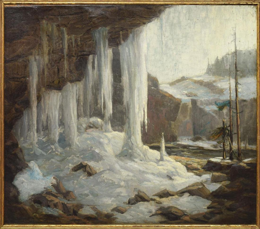 """FRANK LOVEN (1868-1951) """"AUSABLE CHASM"""" PAINTING - 2"""