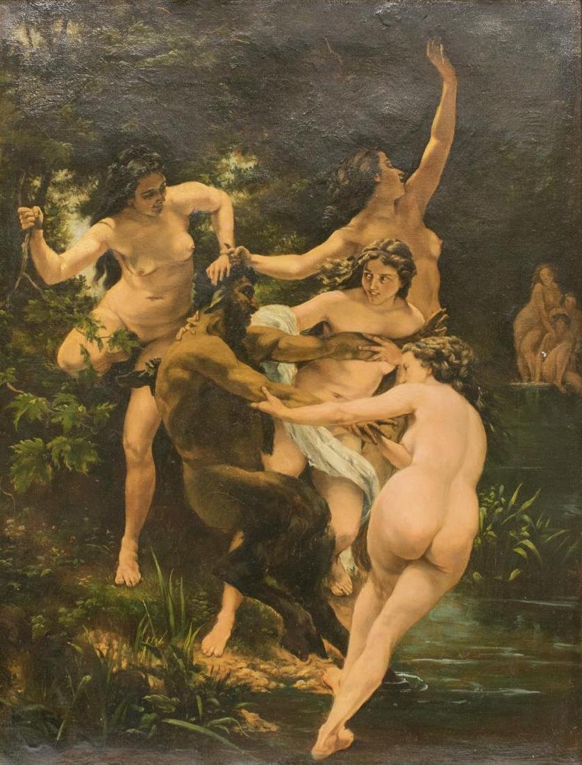 AFTER BOUGUEREAU, NYMPHS AND SATYR PAINTING