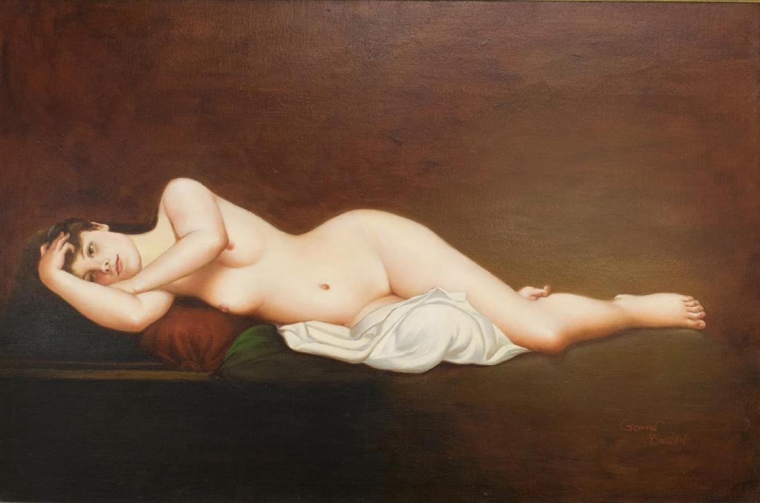 JOHN BOWEN, OIL PAINTING ON CANVAS, RECLINING NUDE