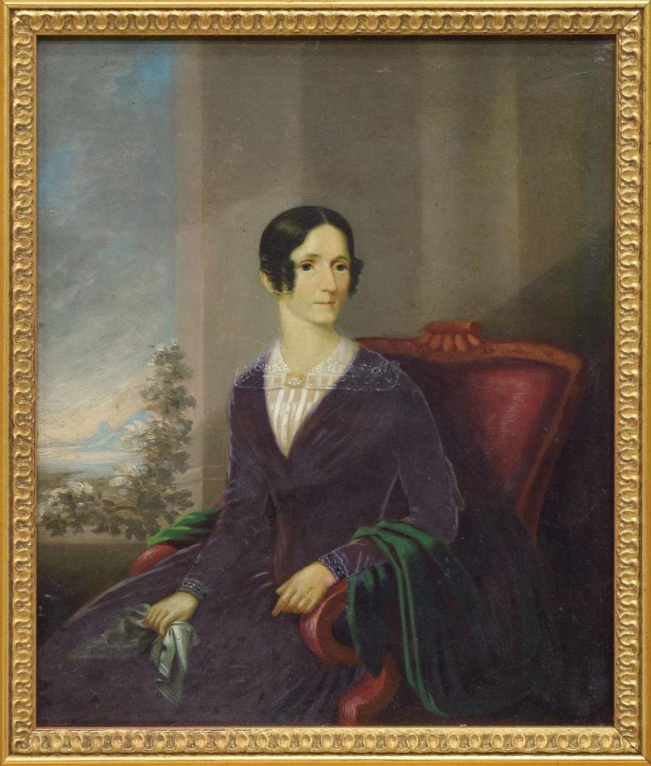 AMERICAN SCHOOL PORTRAIT, LADY IN RED CHAIR - 2