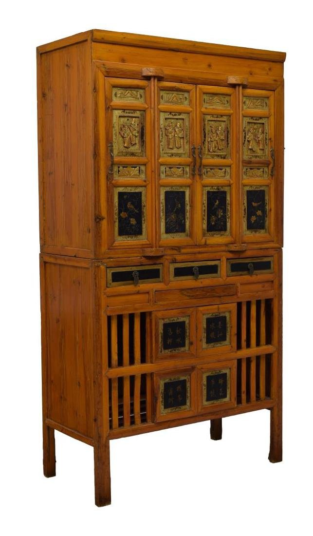 CHINESE FIGURAL CARVED CABINET