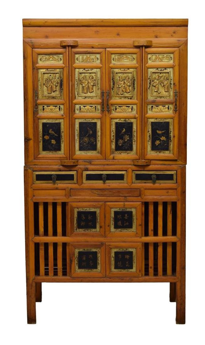 CHINESE FIGURAL CARVED CABINET - 3