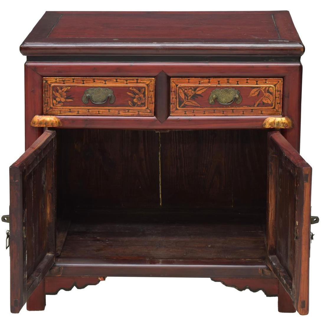 CHINESE RED & GOLD GILT WOOD CABINET - 2