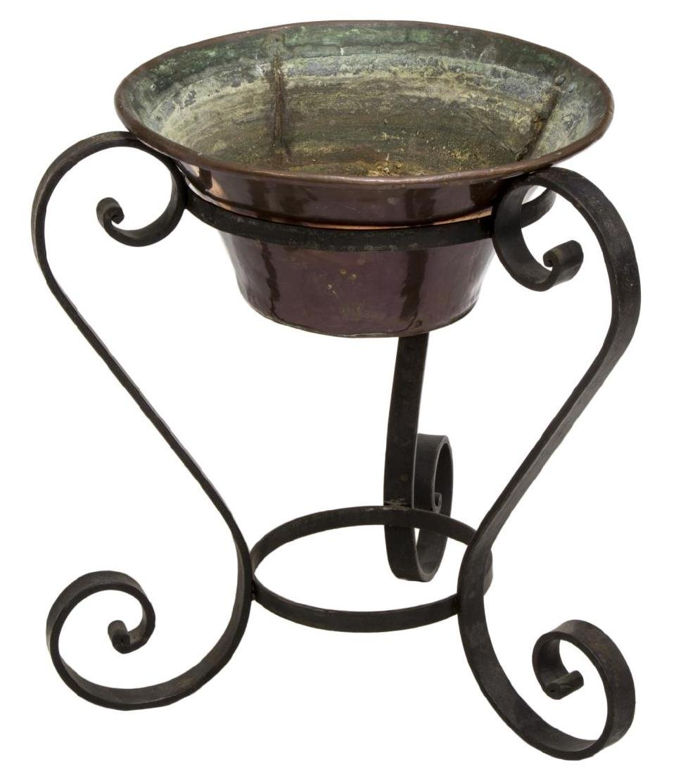 WROUGHT IRON PLANT STAND & COPPER PLANTER