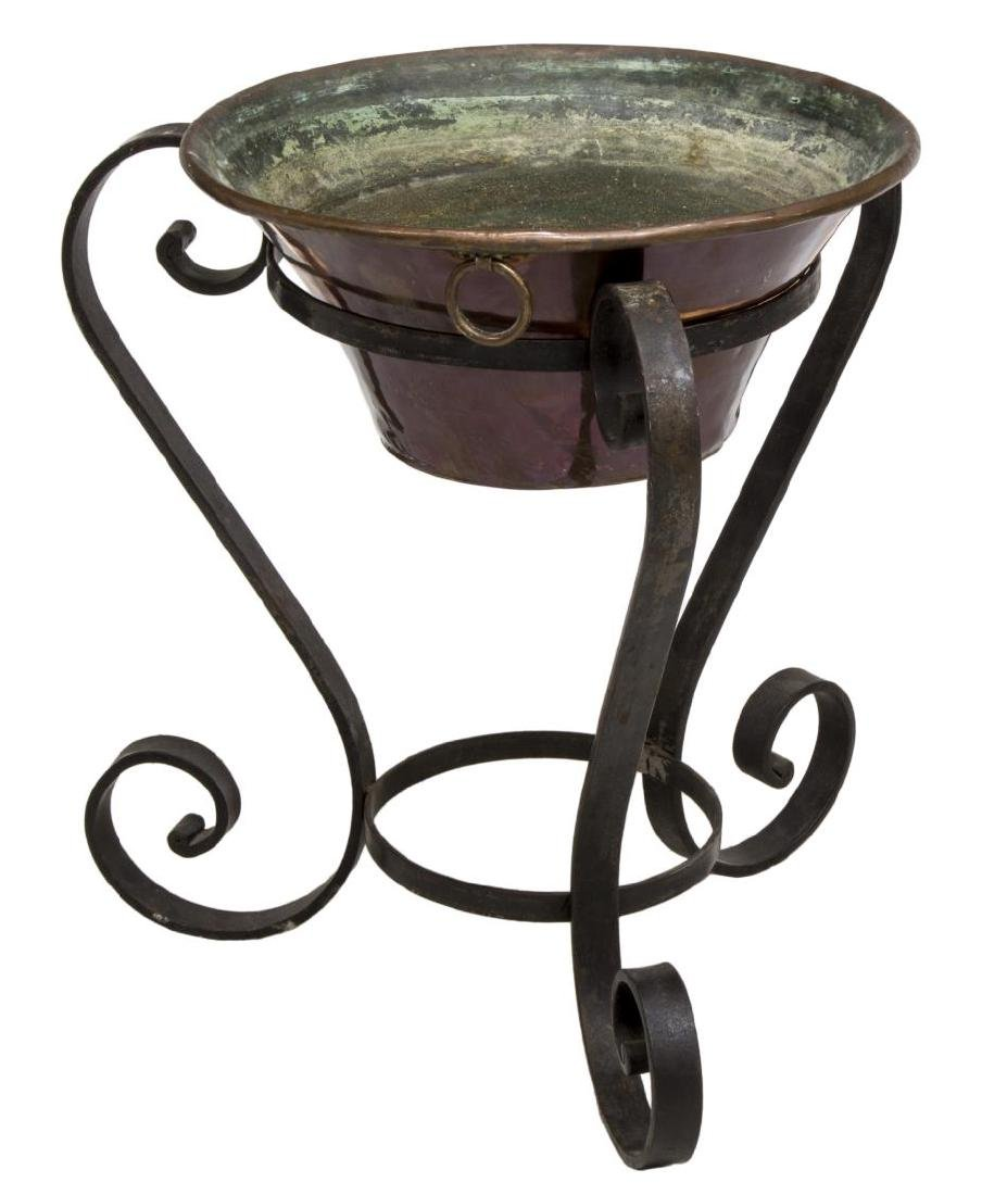 WROUGHT IRON PLANT STAND & COPPER PLANTER - 2