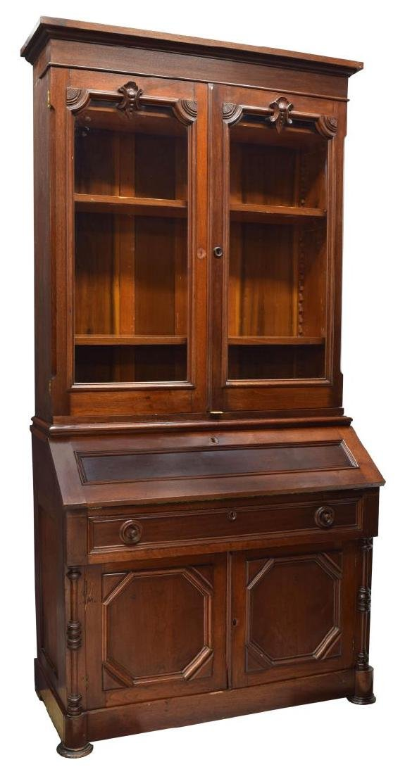 AMERICAN WALNUT SECRETARY BOOKCASE, 19TH C.