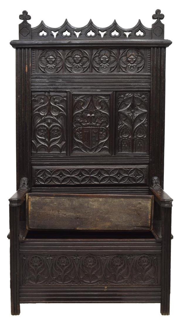 FRENCH GOTHIC REVIVAL OAK HALL BENCH - 2