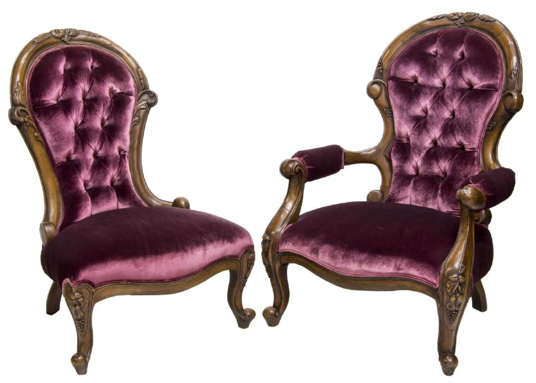(2) VICTORIAN UPHOLSTERED HIS & HERS CHAIRS