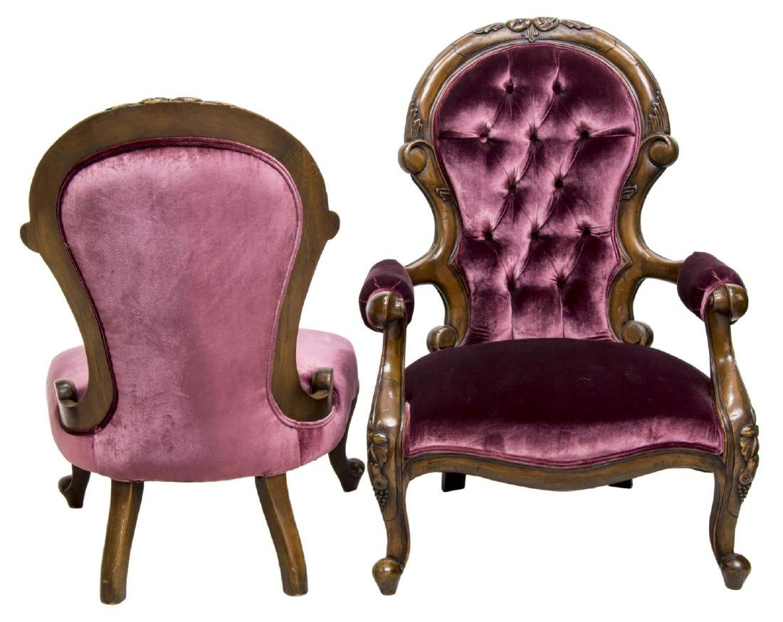 (2) VICTORIAN UPHOLSTERED HIS & HERS CHAIRS - 2