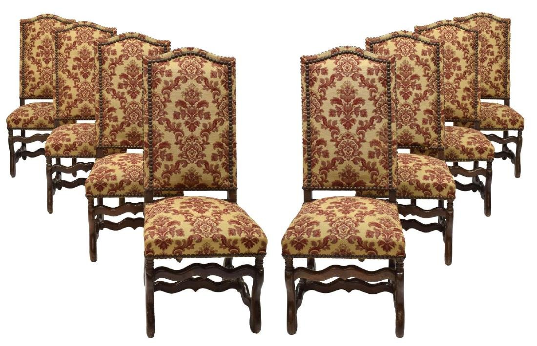 (8) FRENCH LOUIS XIII STYLE DINING CHAIRS