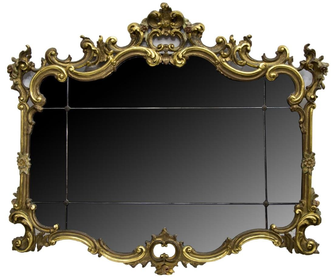 FRENCH LOUIS XV STYLE GILT & FLORAL FRAMED MIRROR