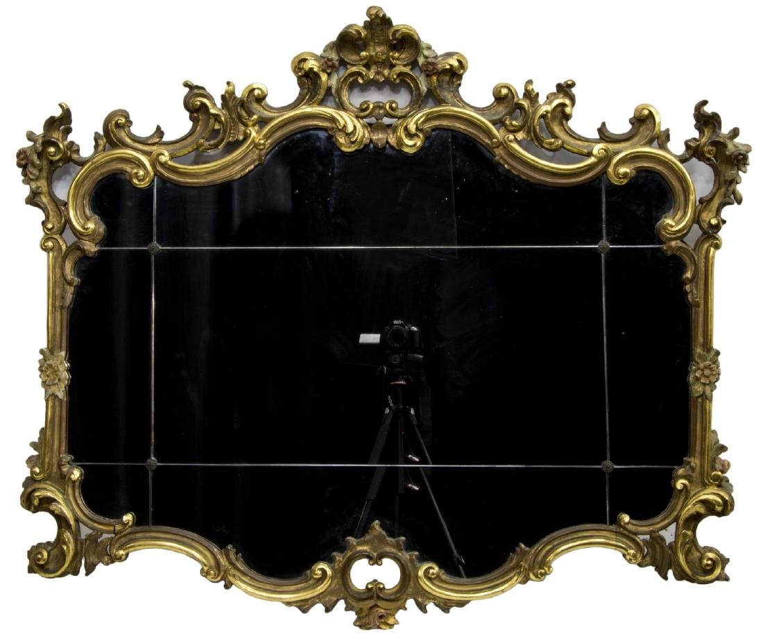 FRENCH LOUIS XV STYLE GILT & FLORAL FRAMED MIRROR - 2