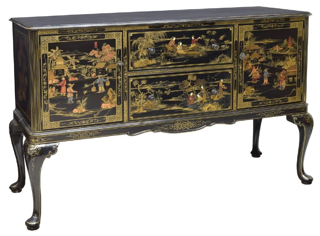 CHINOISERIE BLACK LACQUER SIDEBOARD