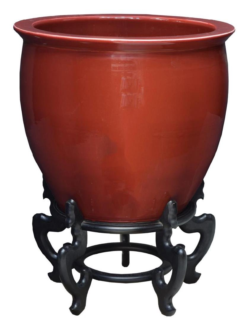 CHINESE SANG DE BOEUF OX BLOOD FISH BOWL & STAND