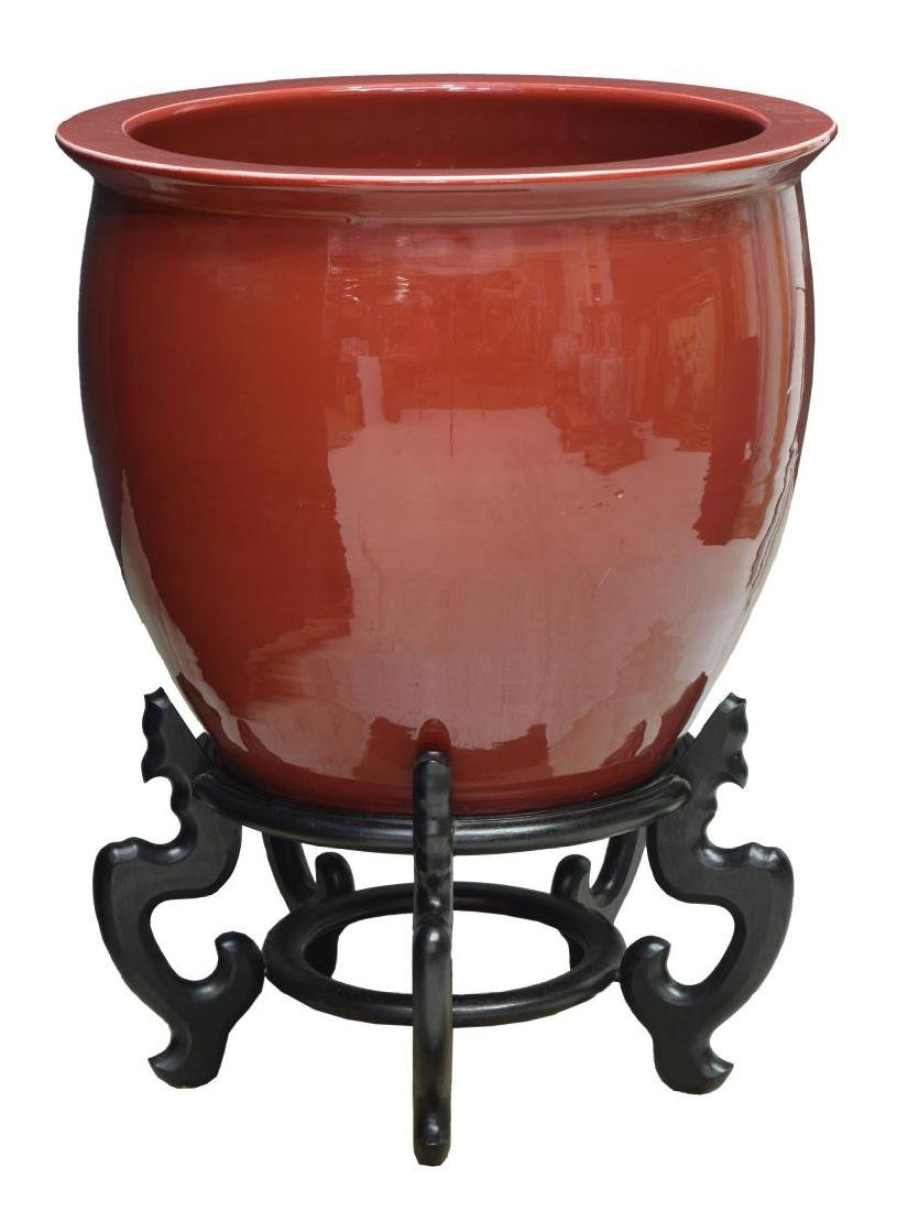 CHINESE SANG DE BOEUF OX BLOOD FISH BOWL & STAND - 2