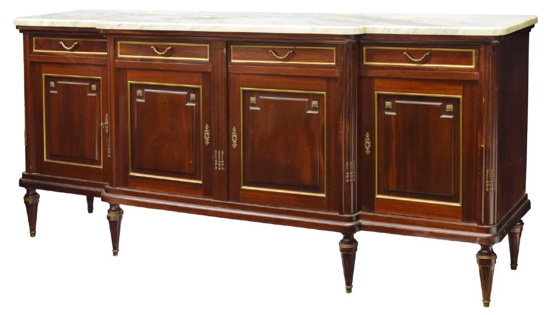 LOUIS XVI STYLE MAHOGANY & MARBLE TOP SIDEBOARD