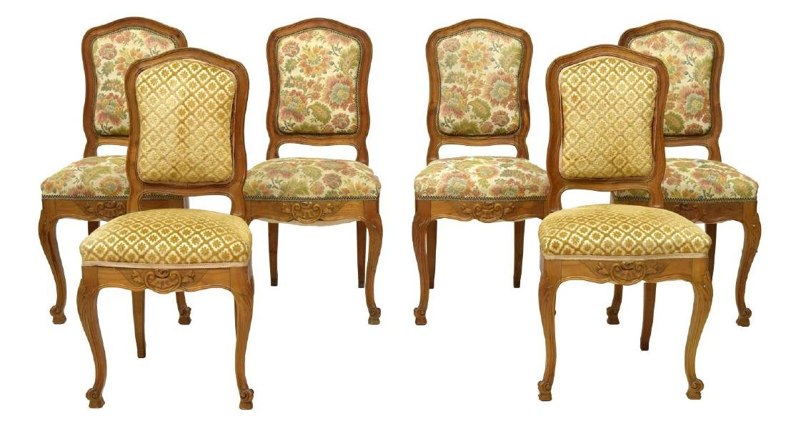 (6) FRENCH UPHOLSTERED FRUITWOOD CHAIRS