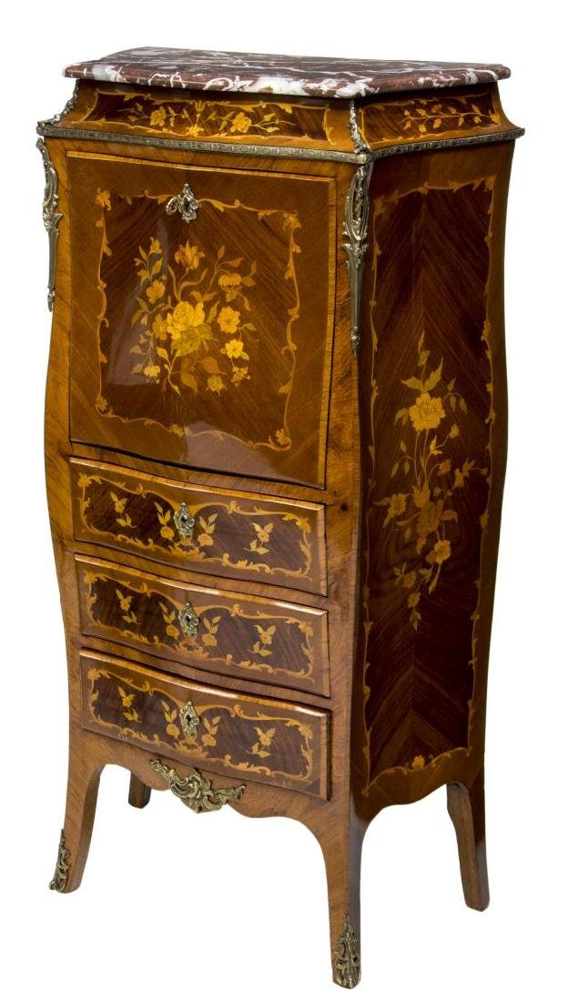 FRENCH LOUIS XV STYLE MARQUETRY SECRETARY