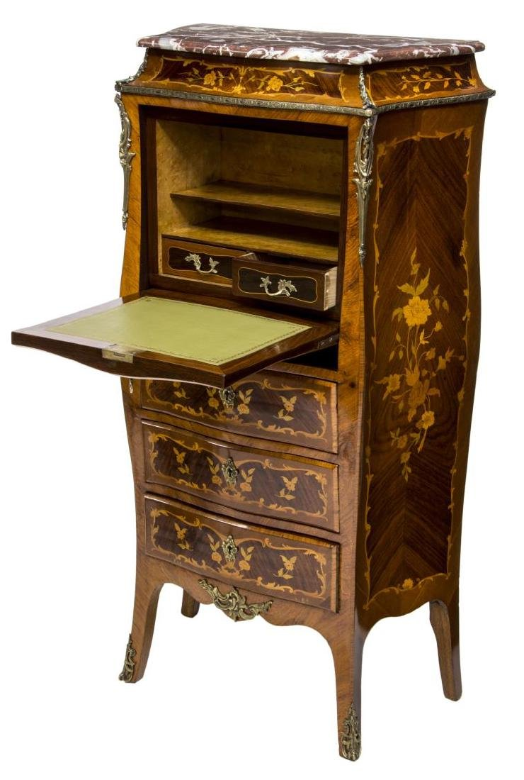 FRENCH LOUIS XV STYLE MARQUETRY SECRETARY - 2