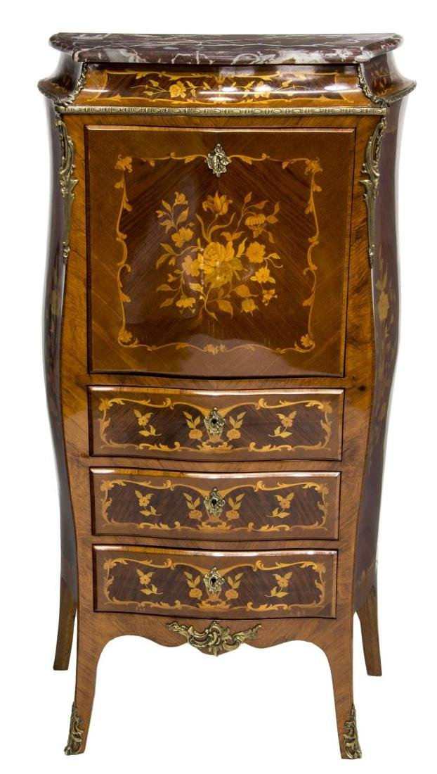FRENCH LOUIS XV STYLE MARQUETRY SECRETARY - 3