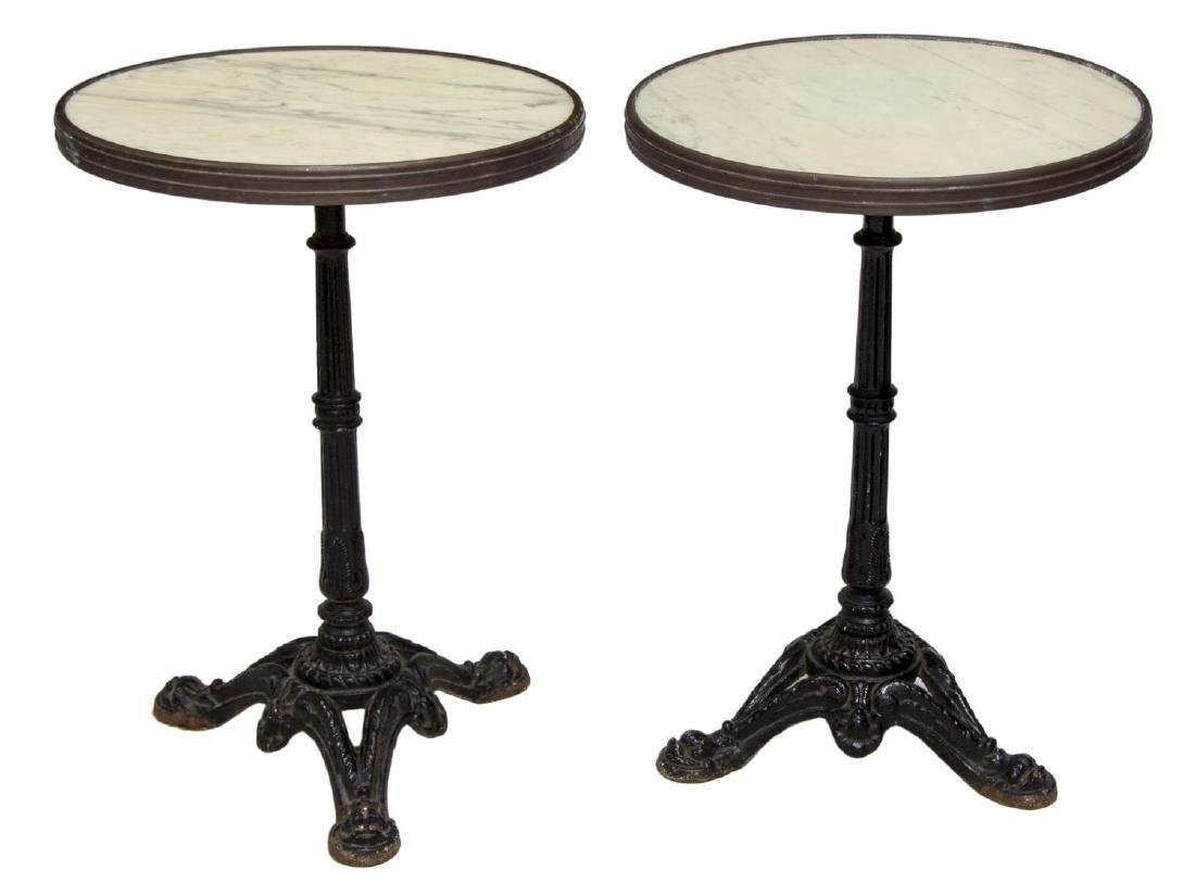 (2) FRENCH IRON BASE BISTRO TABLES