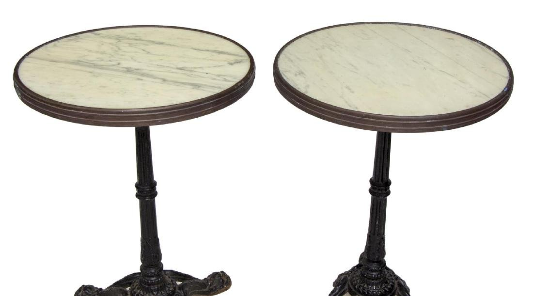 (2) FRENCH IRON BASE BISTRO TABLES - 2