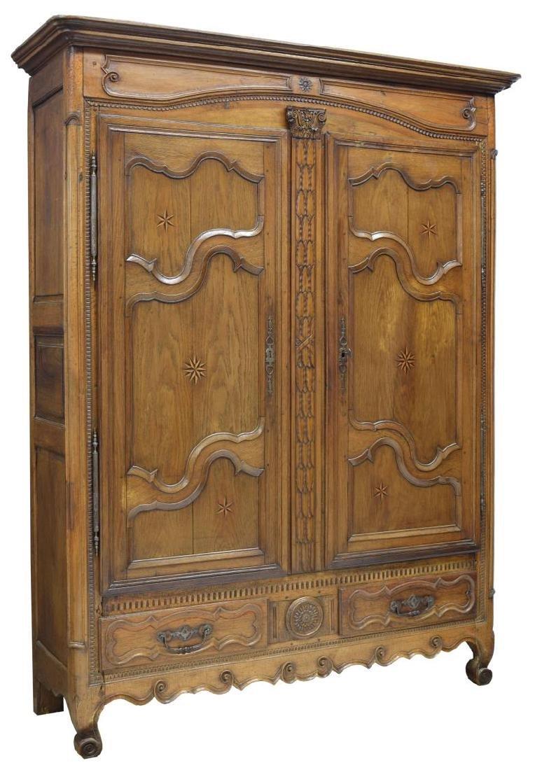 LOUIS XV OAK STAR INLAID TWO DOOR ARMOIRE, C. 1800