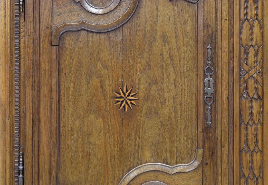 LOUIS XV OAK STAR INLAID TWO DOOR ARMOIRE, C. 1800 - 3