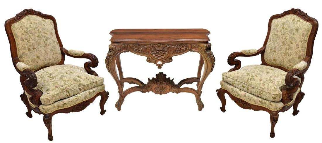 (3) LOUIS XV STYLE CONSOLE & ARM CHAIRS
