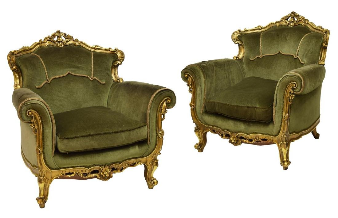 (2) ITALIAN LOUIS XV STYLE GILTWOOD FRAMED CHAIRS