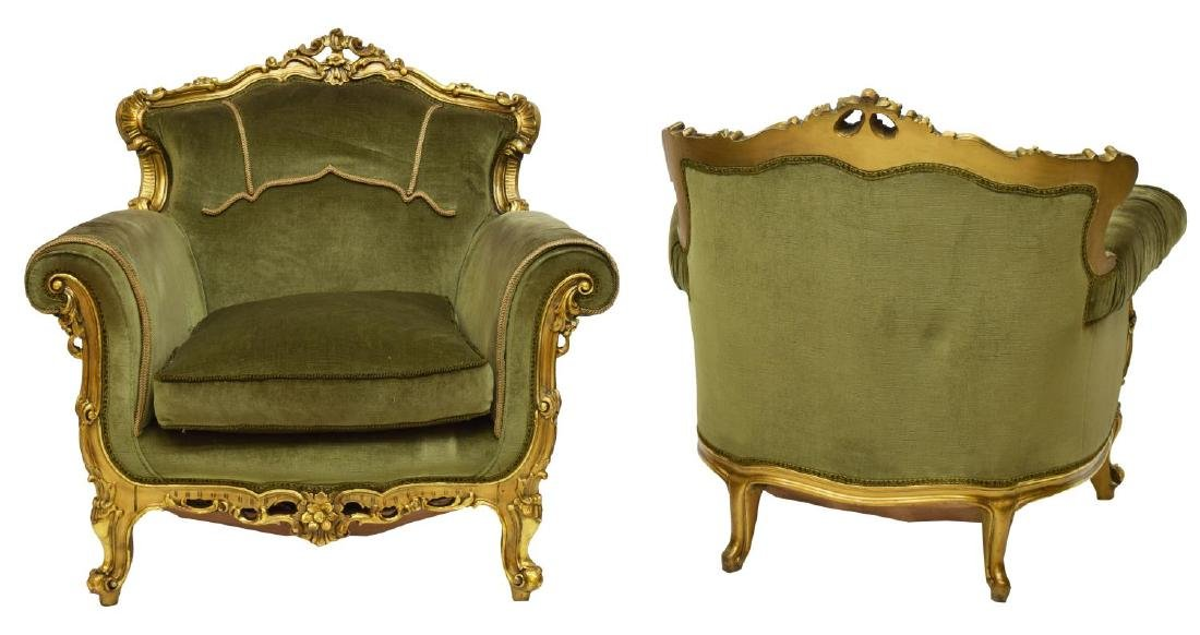 (2) ITALIAN LOUIS XV STYLE GILTWOOD FRAMED CHAIRS - 2