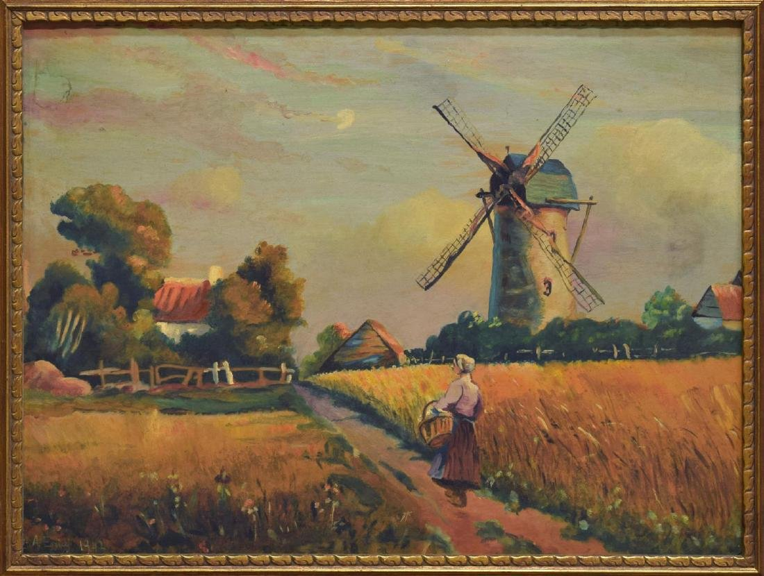 FRAMED DUTCH SCHOOL OIL PAINTING ON BOARD - 2