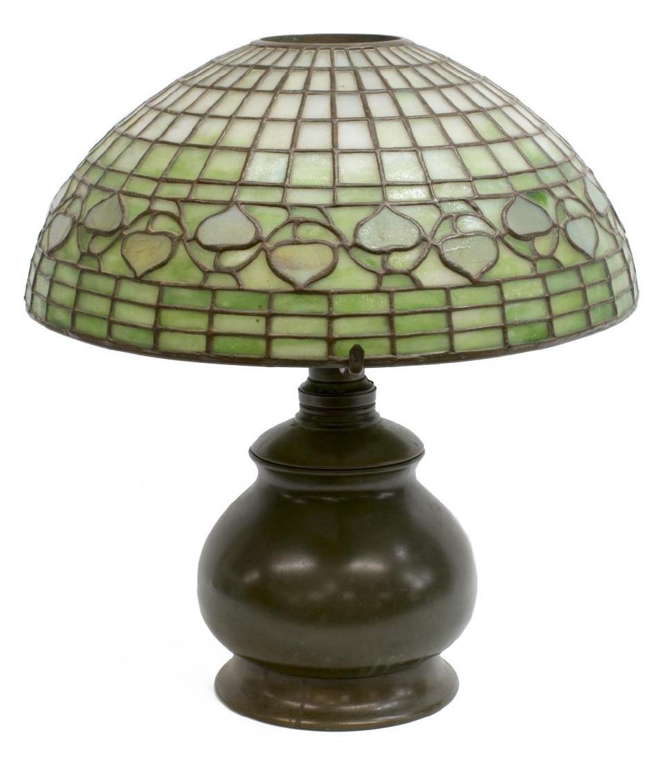 TIFFANY STUDIOS ACORN SHADE BRONZE BASE TABLE LAMP