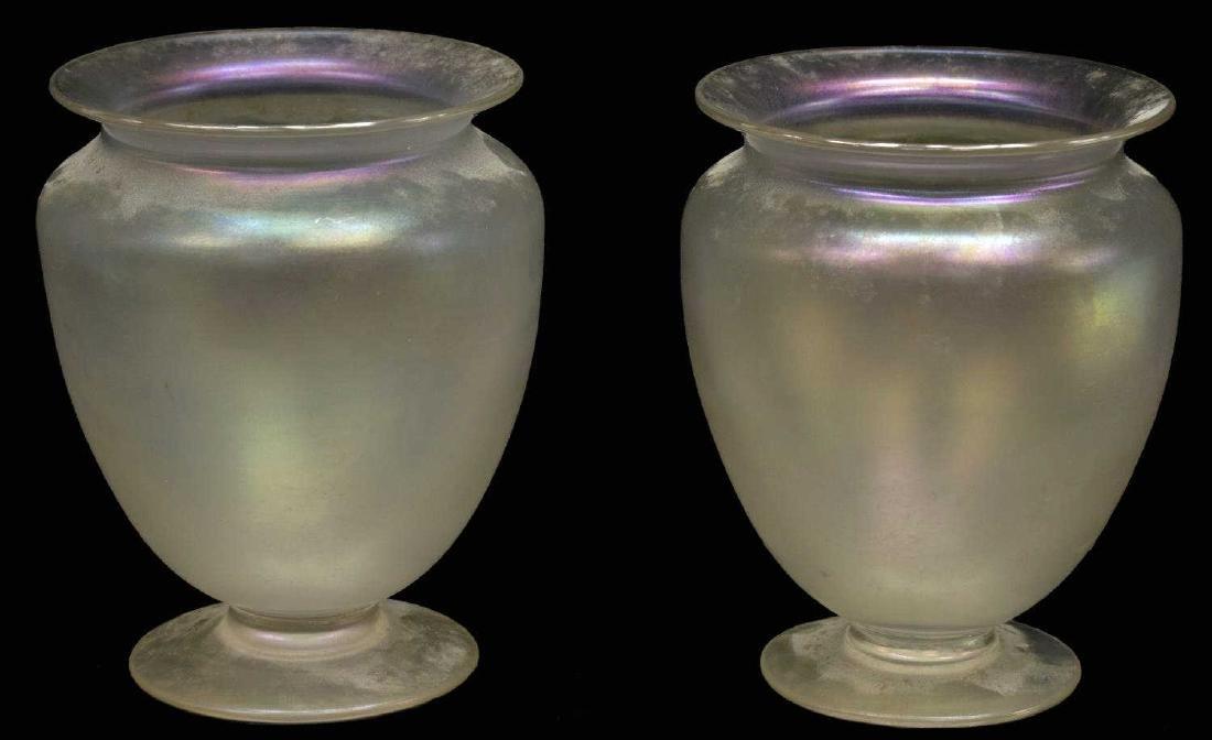 (2) STEUBEN VERRE DE SOIE ART GLASS FOOTED VASE