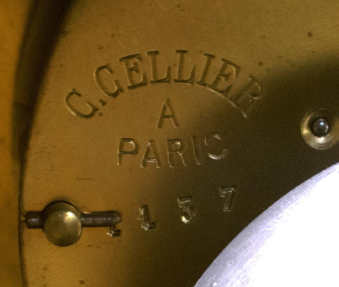 (3) C CELLIER GILT BRONZE MANTEL CLOCK & GARNITURE - 8
