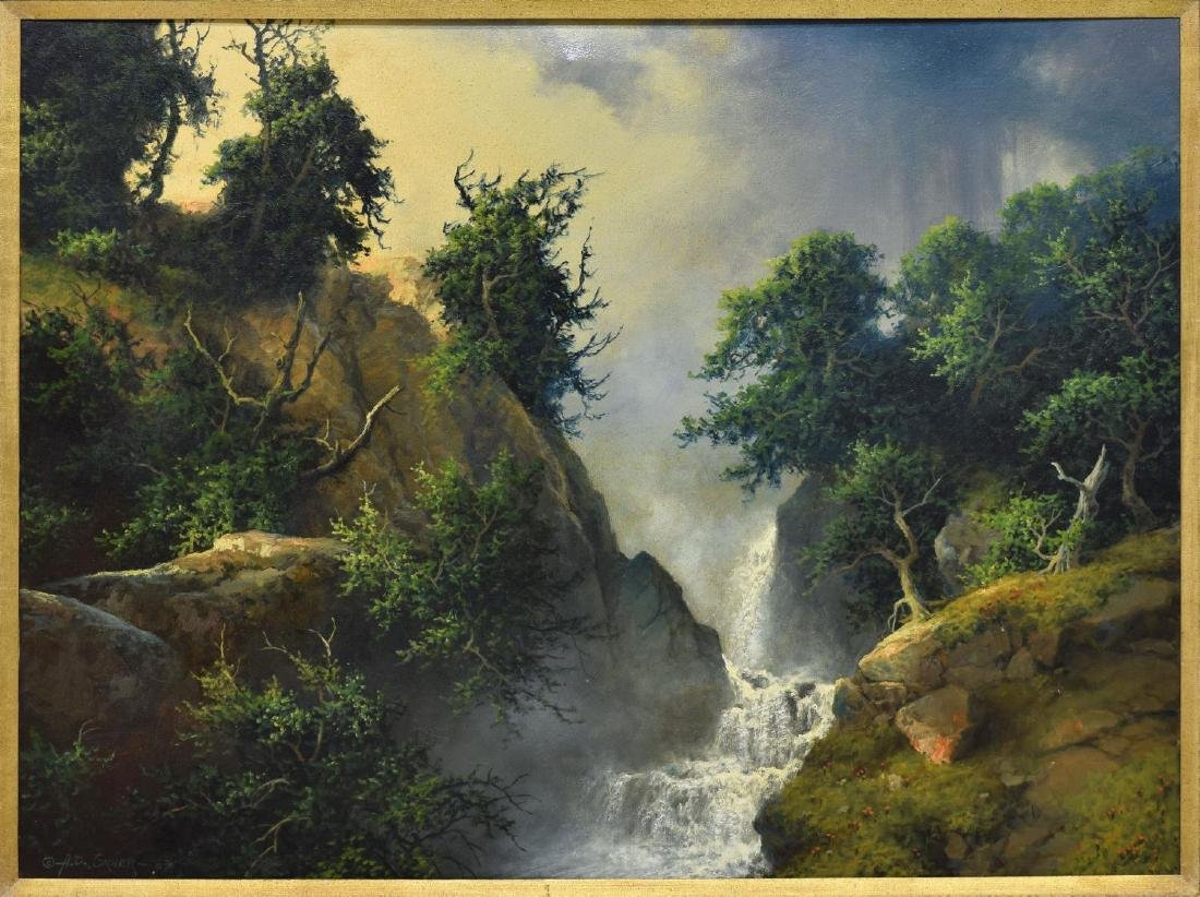 "A.D. GREER (1904-1998) CANYON WATERFALL 30""x40"""